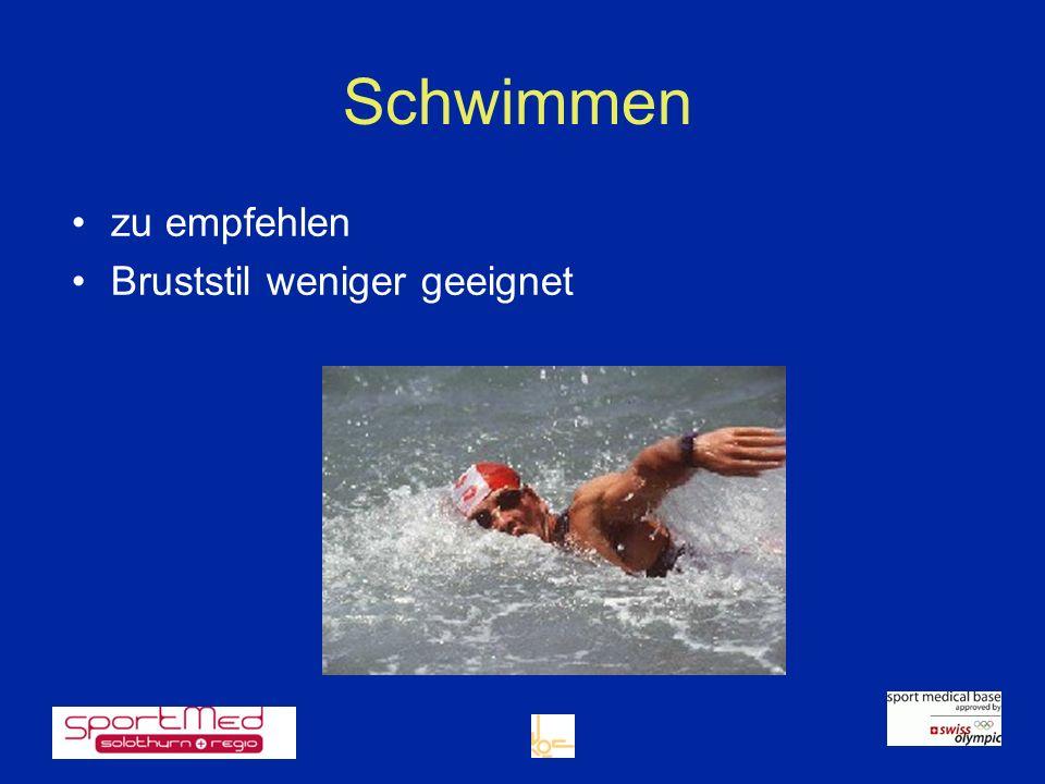 Schwimmen zu empfehlen Bruststil weniger geeignet