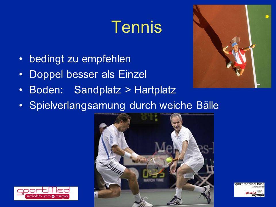 Tennis bedingt zu empfehlen Doppel besser als Einzel Boden:Sandplatz > Hartplatz Spielverlangsamung durch weiche Bälle