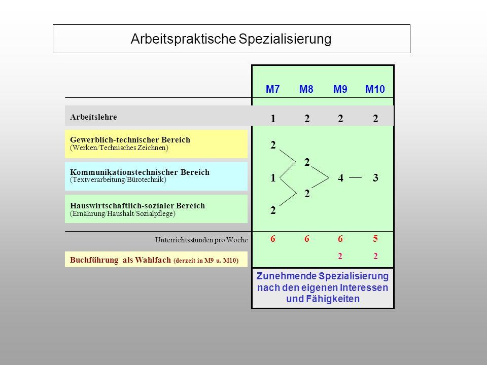 Zunehmende Spezialisierung nach den eigenen Interessen und Fähigkeiten Arbeitslehre Gewerblich-technischer Bereich (Werken/Technisches Zeichnen) Kommu