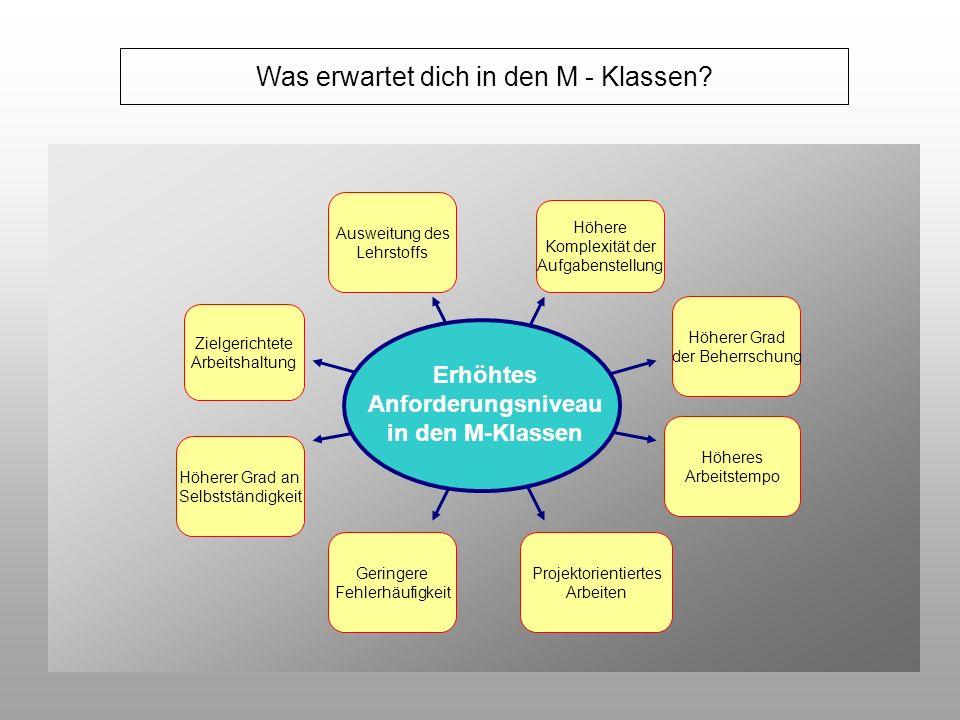 Was erwartet dich in den M - Klassen? Erhöhtes Anforderungsniveau in den M-Klassen Höhere Komplexität der Aufgabenstellung Ausweitung des Lehrstoffs H