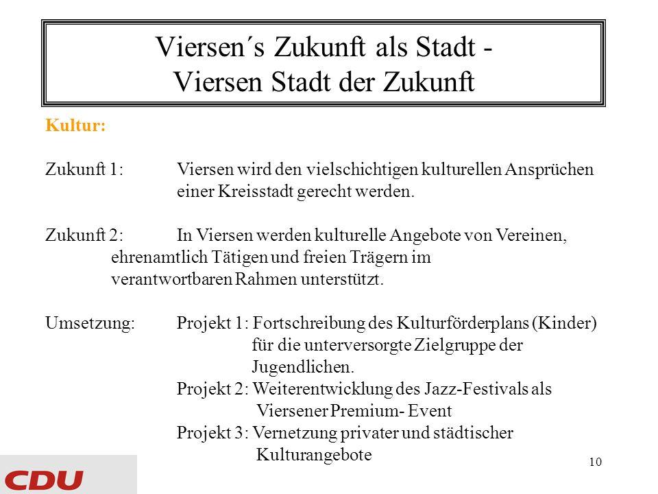 10 Viersen´s Zukunft als Stadt - Viersen Stadt der Zukunft Kultur: Zukunft 1:Viersen wird den vielschichtigen kulturellen Ansprüchen einer Kreisstadt gerecht werden.