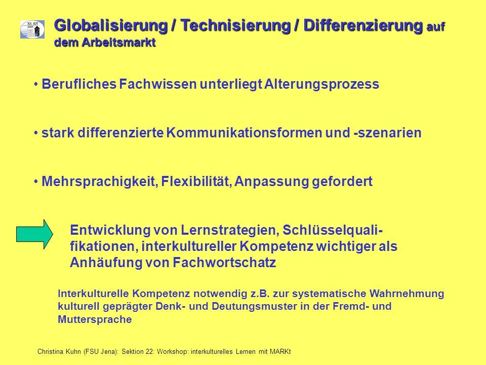 Christina Kuhn (FSU Jena): Sektion 22: Workshop: interkulturelles Lernen mit MARKt Globalisierung / Technisierung / Differenzierung auf dem Arbeitsmar