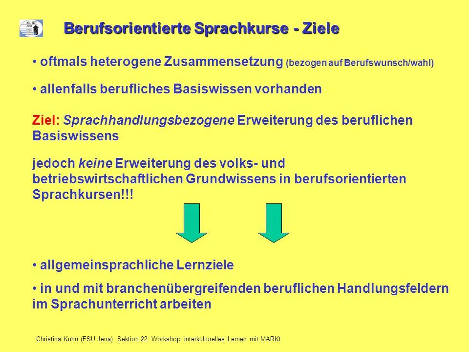 Christina Kuhn (FSU Jena): Sektion 22: Workshop: interkulturelles Lernen mit MARKt Berufsorientierte Sprachkurse - Ziele allenfalls berufliches Basisw