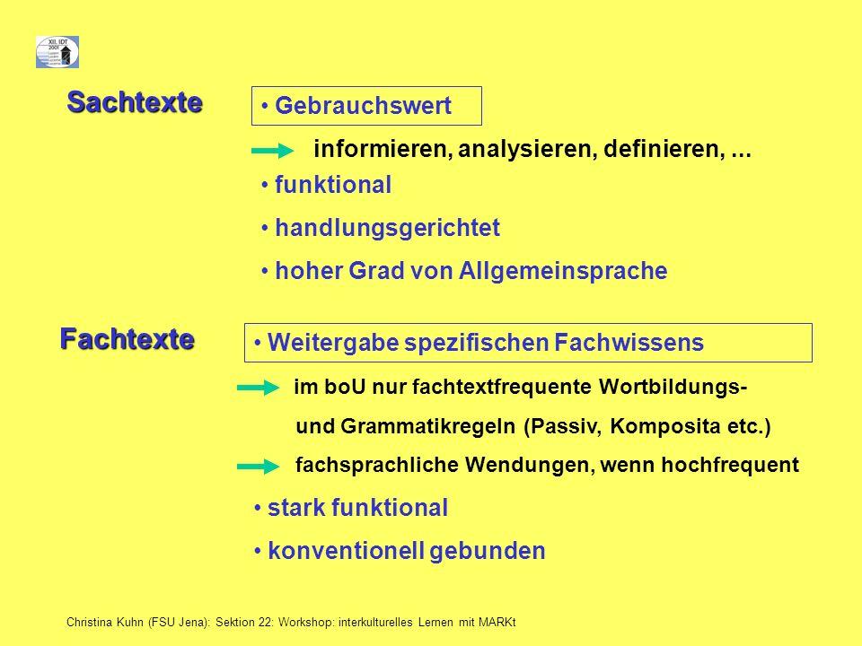 Christina Kuhn (FSU Jena): Sektion 22: Workshop: interkulturelles Lernen mit MARKt Sachtexte Gebrauchswert funktional handlungsgerichtet informieren,
