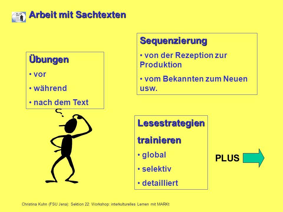 Christina Kuhn (FSU Jena): Sektion 22: Workshop: interkulturelles Lernen mit MARKt Arbeit mit Sachtexten Übungen vor während nach dem Text Sequenzieru