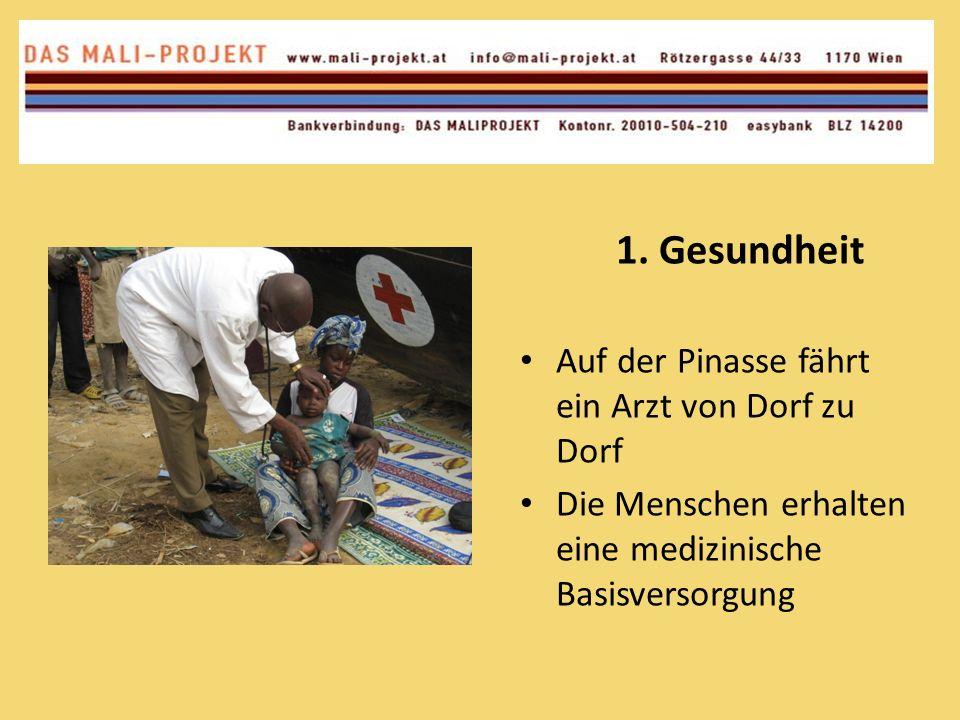 1. Gesundheit Auf der Pinasse fährt ein Arzt von Dorf zu Dorf Die Menschen erhalten eine medizinische Basisversorgung