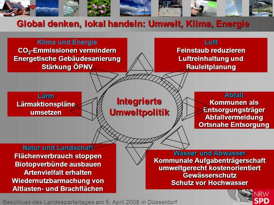 Beschluss des Landesparteitages am 5. April 2008 in Düsseldorf II. Handlungsfelder Wasser und Abwasser Kommunale Aufgabenträgerschaft umweltgerecht ko