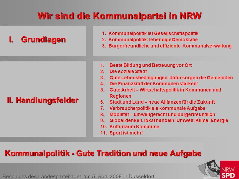 Beschluss des Landesparteitages am 5. April 2008 in Düsseldorf Wir sind die Kommunalpartei in NRW I.Grundlagen II. Handlungsfelder II. Handlungsfelder