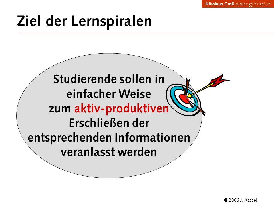 Nikolaus Groß Abendgymnasium 2006 J. Kassel Ziel der Lernspiralen Studierende sollen in einfacher Weise zum aktiv-produktiven Erschließen der entsprec