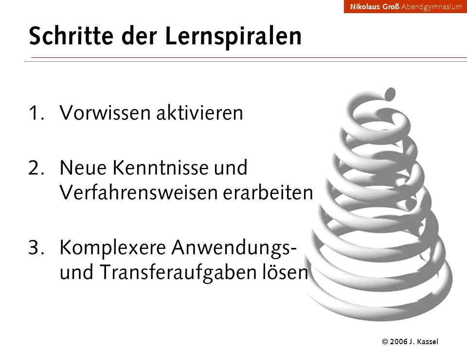 Nikolaus Groß Abendgymnasium 2006 J. Kassel Schritte der Lernspiralen Vorwissen aktivieren Neue Kenntnisse und Verfahrensweisen erarbeiten Komplexere