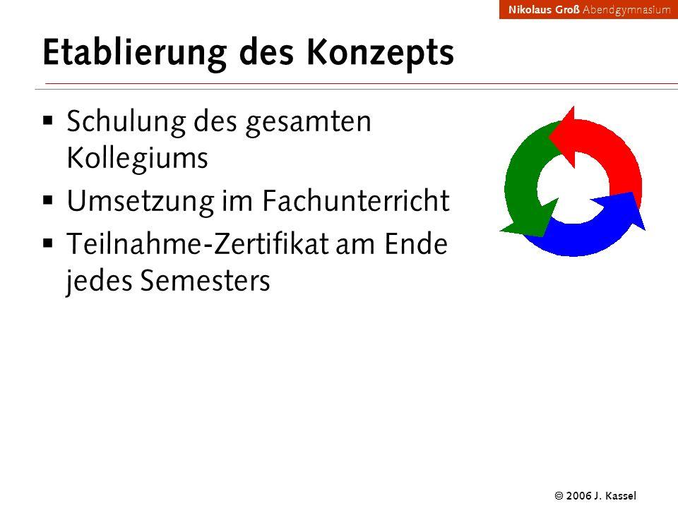 Nikolaus Groß Abendgymnasium 2006 J. Kassel Etablierung des Konzepts Schulung des gesamten Kollegiums Umsetzung im Fachunterricht Teilnahme-Zertifikat