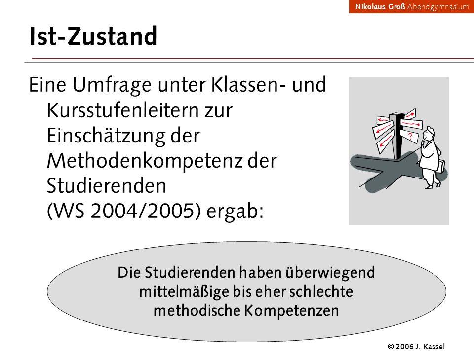 Nikolaus Groß Abendgymnasium 2006 J. Kassel Ist-Zustand Eine Umfrage unter Klassen- und Kursstufenleitern zur Einschätzung der Methodenkompetenz der S