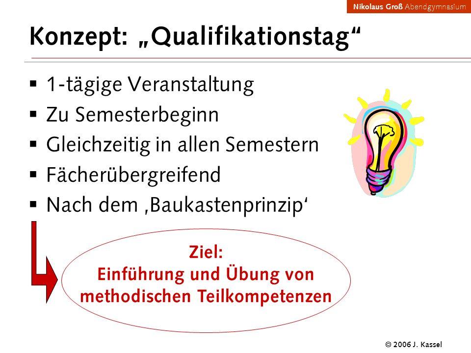 Nikolaus Groß Abendgymnasium 2006 J. Kassel Konzept: Qualifikationstag 1-tägige Veranstaltung Zu Semesterbeginn Gleichzeitig in allen Semestern Fächer