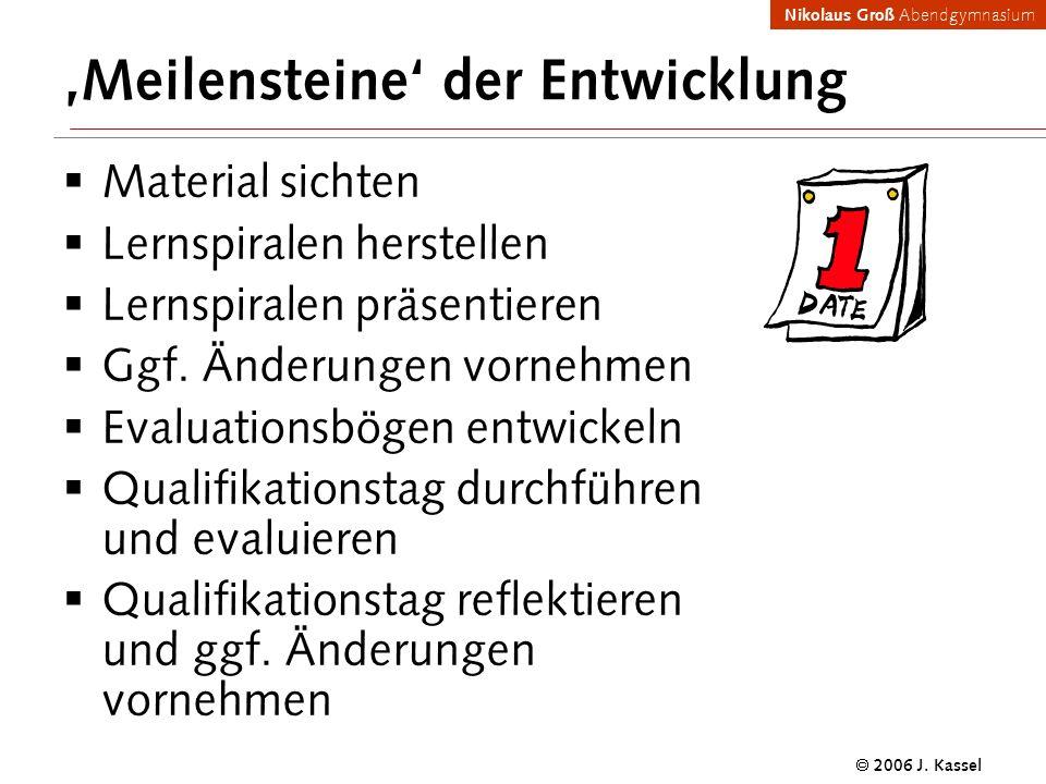Nikolaus Groß Abendgymnasium 2006 J. Kassel Meilensteine der Entwicklung Material sichten Lernspiralen herstellen Lernspiralen präsentieren Ggf. Änder