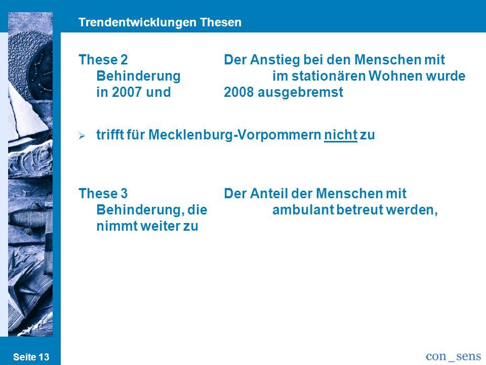 Trendentwicklungen Thesen Seite 13 These 2Der Anstieg bei den Menschen mit Behinderung im stationären Wohnen wurde in 2007 und 2008 ausgebremst trifft für Mecklenburg-Vorpommern nicht zu These 3Der Anteil der Menschen mit Behinderung, die ambulant betreut werden, nimmt weiter zu