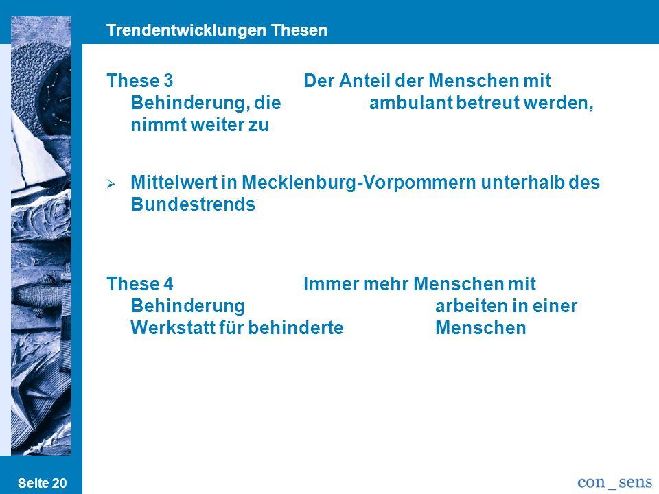 Trendentwicklungen Thesen Seite 20 These 3Der Anteil der Menschen mit Behinderung, die ambulant betreut werden, nimmt weiter zu Mittelwert in Mecklenburg-Vorpommern unterhalb des Bundestrends These 4Immer mehr Menschen mit Behinderung arbeiten in einer Werkstatt für behinderte Menschen