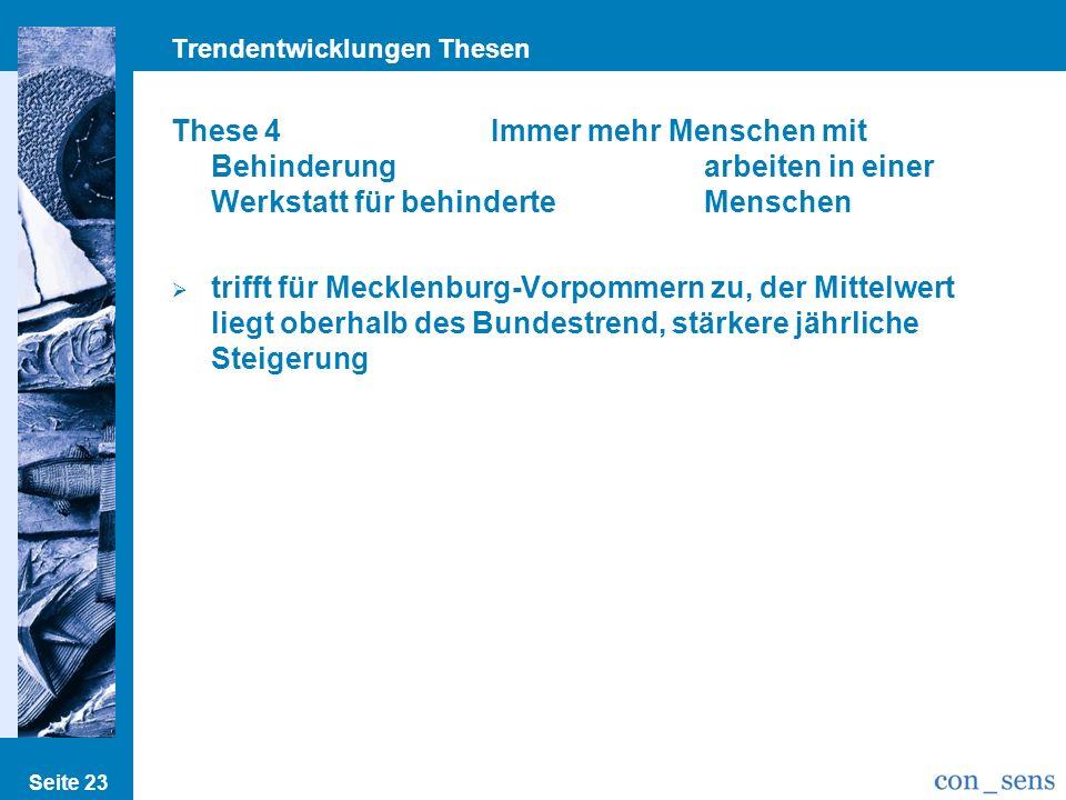 Trendentwicklungen Thesen Seite 23 These 4Immer mehr Menschen mit Behinderung arbeiten in einer Werkstatt für behinderte Menschen trifft für Mecklenburg-Vorpommern zu, der Mittelwert liegt oberhalb des Bundestrend, stärkere jährliche Steigerung