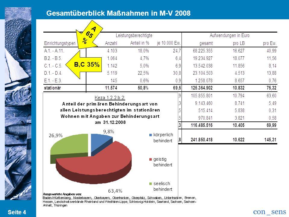 Gesamtüberblick Maßnahmen in M-V 2008 Seite 4 A 65 % B,C 35%