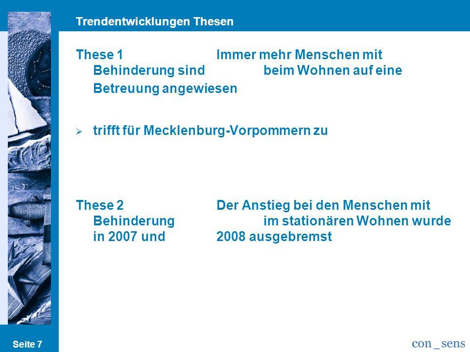 Trendentwicklungen Thesen Seite 7 These 1Immer mehr Menschen mit Behinderung sind beim Wohnen auf eine Betreuung angewiesen trifft für Mecklenburg-Vorpommern zu These 2Der Anstieg bei den Menschen mit Behinderung im stationären Wohnen wurde in 2007 und 2008 ausgebremst