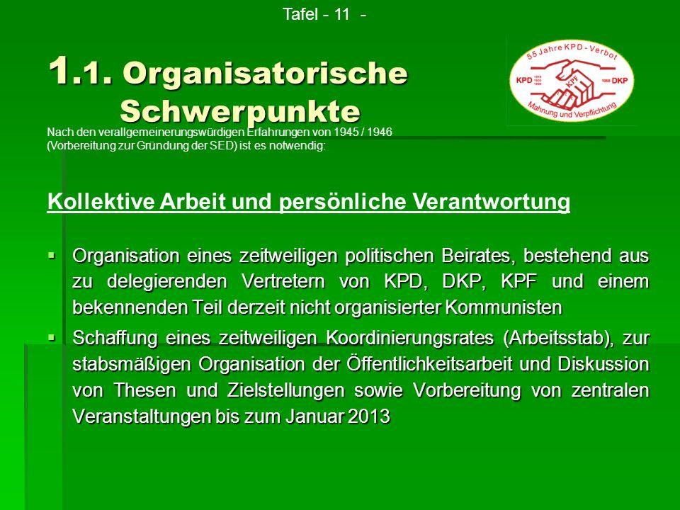 Organisation eines zeitweiligen politischen Beirates, bestehend aus zu delegierenden Vertretern von KPD, DKP, KPF und einem bekennenden Teil derzeit n