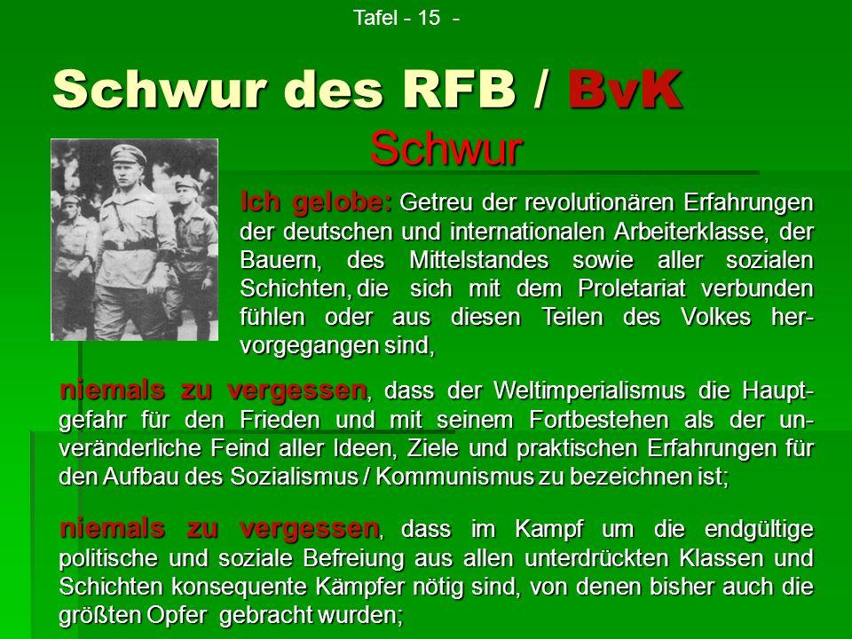 Schwur des RFB / BvK niemals zu vergessen, dass im Kampf um die endgültige politische und soziale Befreiung aus allen unterdrückten Klassen und Schich