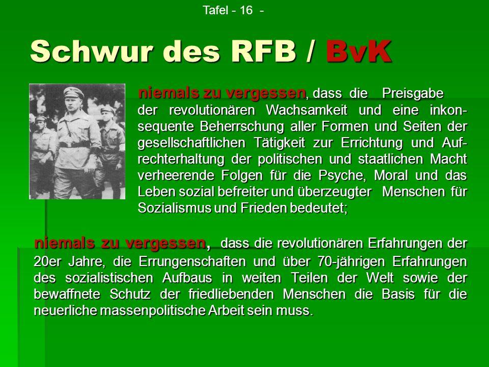 Schwur des RFB / BvK niemals zu vergessen, dass die revolutionären Erfahrungen der 20er Jahre, die Errungenschaften und über 70-jährigen Erfahrungen d