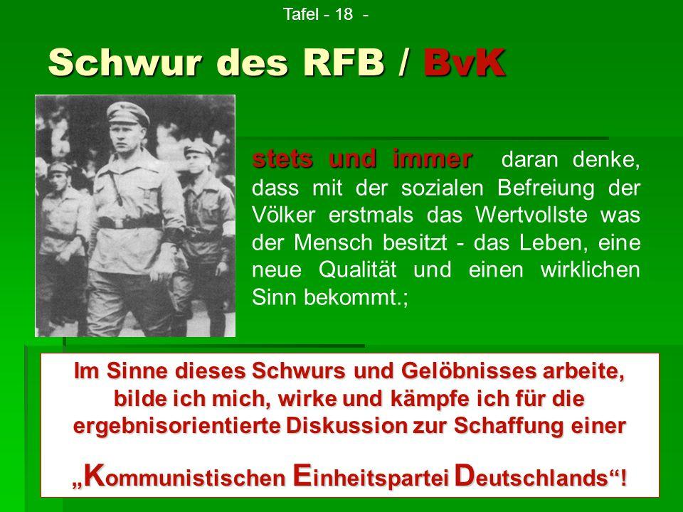 Schwur des RFB / BvK stets und immer stets und immer daran denke, dass mit der sozialen Befreiung der Völker erstmals das Wertvollste was der Mensch b