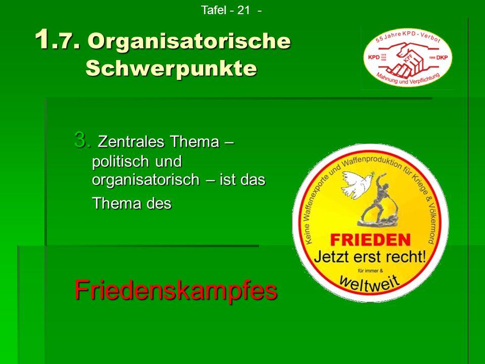 3. Z entrales Thema – politisch und organisatorisch – ist das Thema des 1.7. Organisatorische Schwerpunkte Tafel - 21 -Friedenskampfes