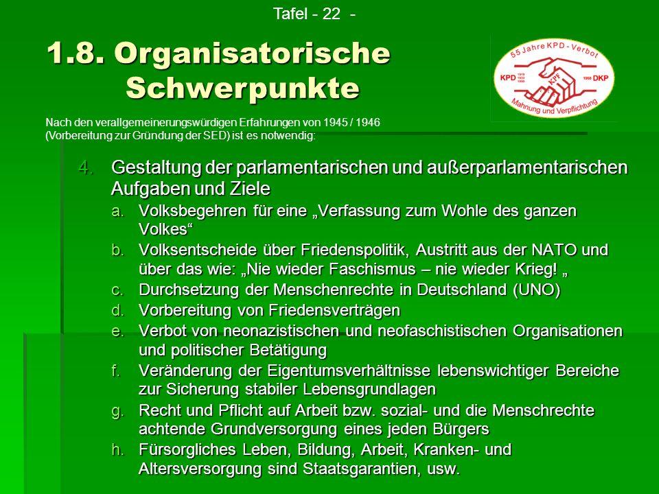 4.G estaltung der parlamentarischen und außerparlamentarischen Aufgaben und Ziele a.V olksbegehren für eine Verfassung zum Wohle des ganzen Volkes b.V