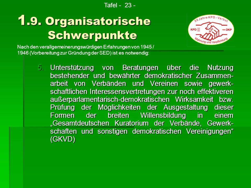 5.U nterstützung von Beratungen über die Nutzung bestehender und bewährter demokratischer Zusammen- arbeit von Verbänden und Vereinen sowie gewerk- sc
