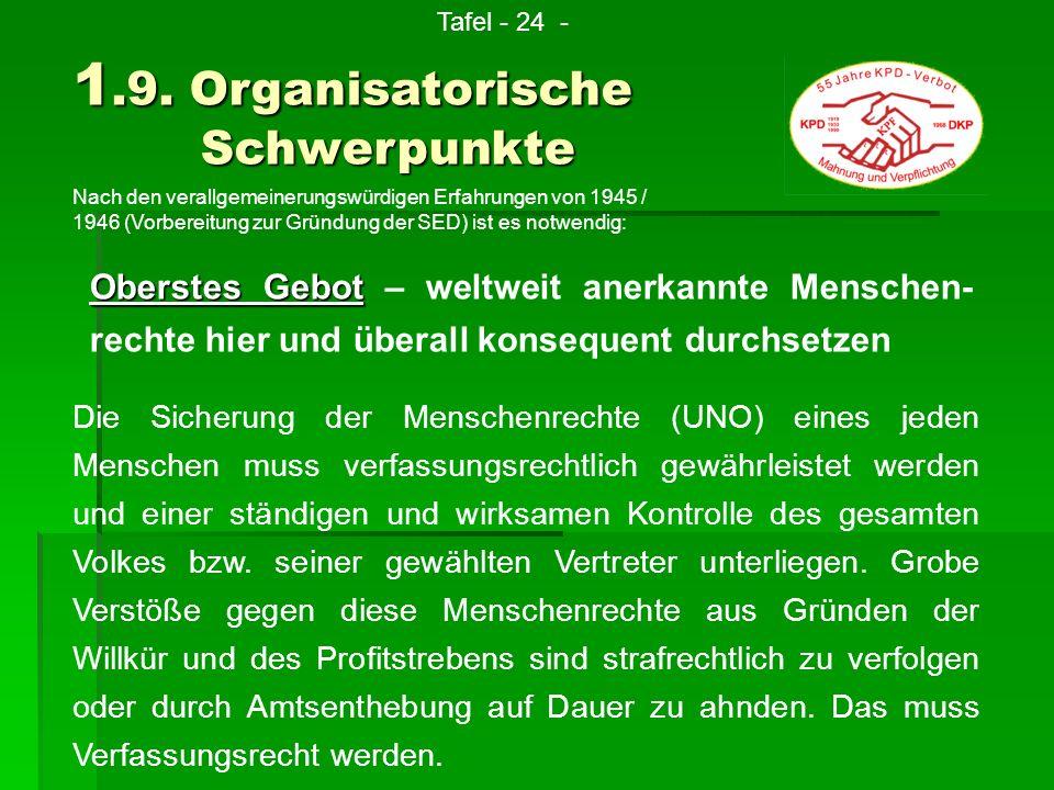 Nach den verallgemeinerungswürdigen Erfahrungen von 1945 / 1946 (Vorbereitung zur Gründung der SED) ist es notwendig: 1.9. Organisatorische Schwerpunk