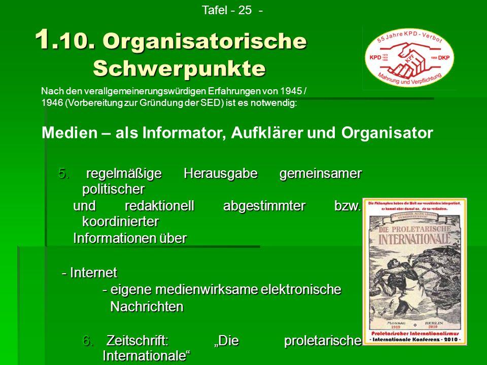 Nach den verallgemeinerungswürdigen Erfahrungen von 1945 / 1946 (Vorbereitung zur Gründung der SED) ist es notwendig: 1.10. Organisatorische Schwerpun