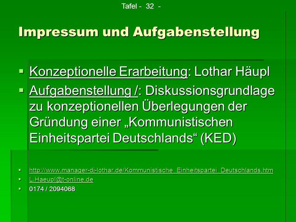 Impressum und Aufgabenstellung Konzeptionelle Erarbeitung: Lothar Häupl Konzeptionelle Erarbeitung: Lothar Häupl Aufgabenstellung /: Diskussionsgrundl