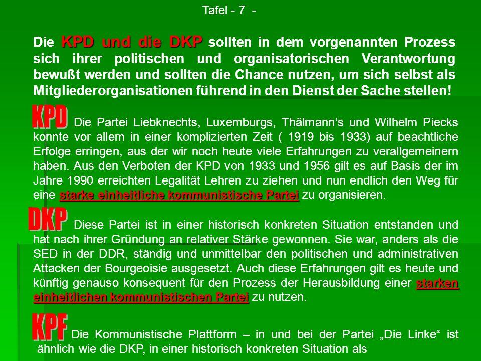 KPD und die DKP Die KPD und die DKP sollten in dem vorgenannten Prozess sich ihrer politischen und organisatorischen Verantwortung bewußt werden und s