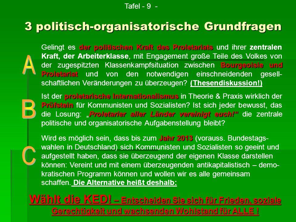 Wird es möglich sein, dass bis zum J JJ Jahr 2013 (vorauss. Bundestags- wahlen in Deutschland) sich Kommunisten und Sozialisten so geeint und aufgeste