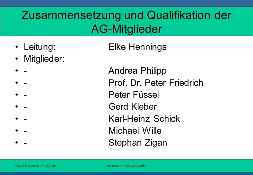 VO/LG-Sitzung 06.-07.12.2008Statusbericht AG des DWZRV Störfaktoren bei der Zusammen-arbeit mit Nicht-AG-Mitgliedern Zwischenmenschliche Beziehungen!!!!.