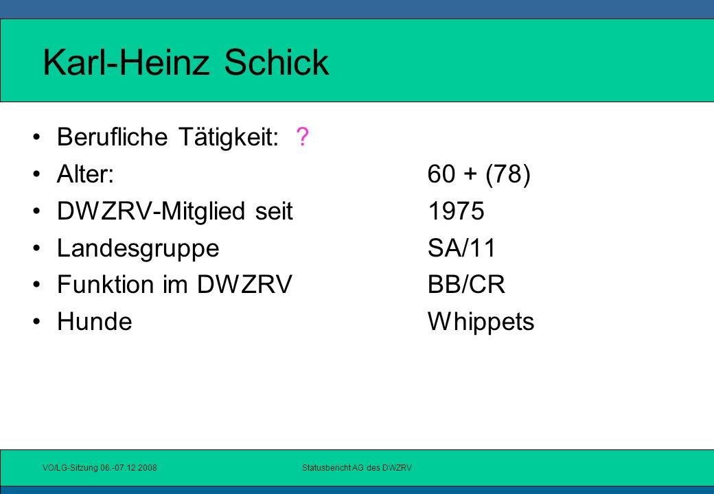 VO/LG-Sitzung 06.-07.12.2008Statusbericht AG des DWZRV Sachstand UW Neue Druckerei ab 01.01.2009: 12 Angebote angefordert mehrere Angebote günstiger als aktuelle Druckerei 3 wurden persönlich besucht Entscheidung zur Druckerei auf Vorstandssitzung in Köln getroffen