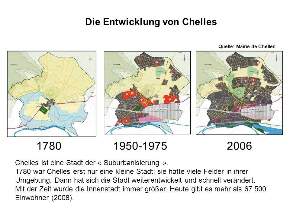 Die Entwicklung von Chelles Quelle: Mairie de Chelles. Chelles ist eine Stadt der « Suburbanisierung ». 1780 war Chelles erst nur eine kleine Stadt: s