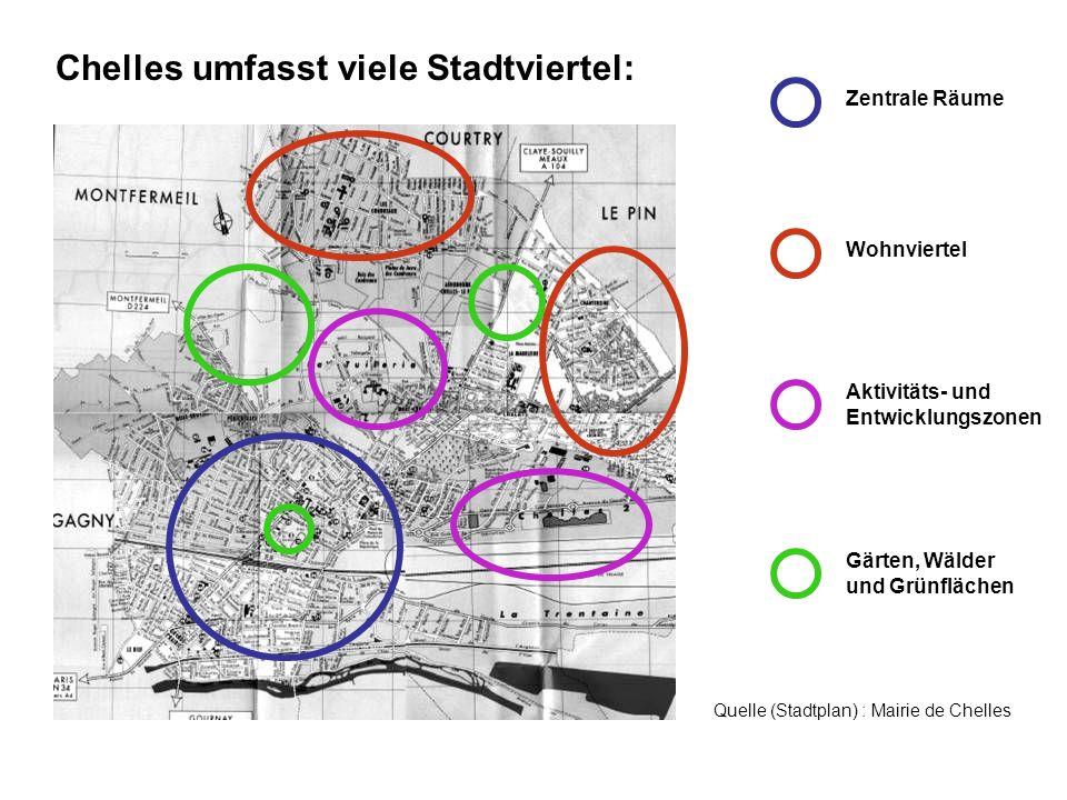 Chelles umfasst viele Stadtviertel: Zentrale Räume Gärten, Wälder und Grünflächen Aktivitäts- und Entwicklungszonen Wohnviertel Quelle (Stadtplan) : M