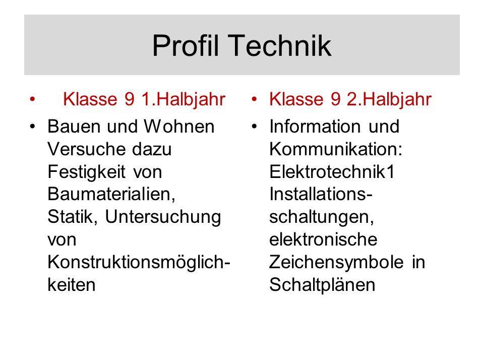 Profil Technik Klasse 9 1.Halbjahr Bauen und Wohnen Versuche dazu Festigkeit von Baumaterialien, Statik, Untersuchung von Konstruktionsmöglich- keiten