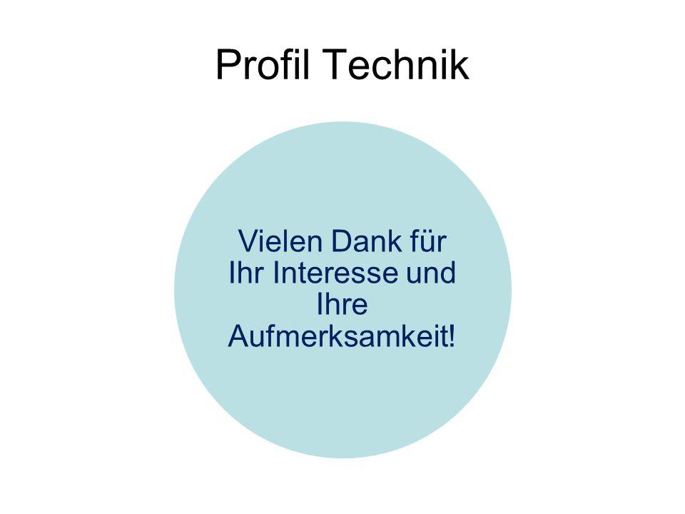 Profil Technik Vielen Dank für Ihr Interesse und Ihre Aufmerksamkeit!