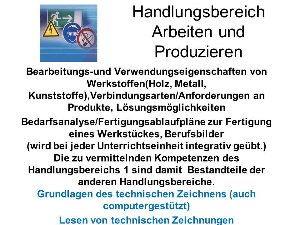 Handlungsbereich Arbeiten und Produzieren Bearbeitungs-und Verwendungseigenschaften von Werkstoffen(Holz, Metall, Kunststoffe),Verbindungsarten/Anford