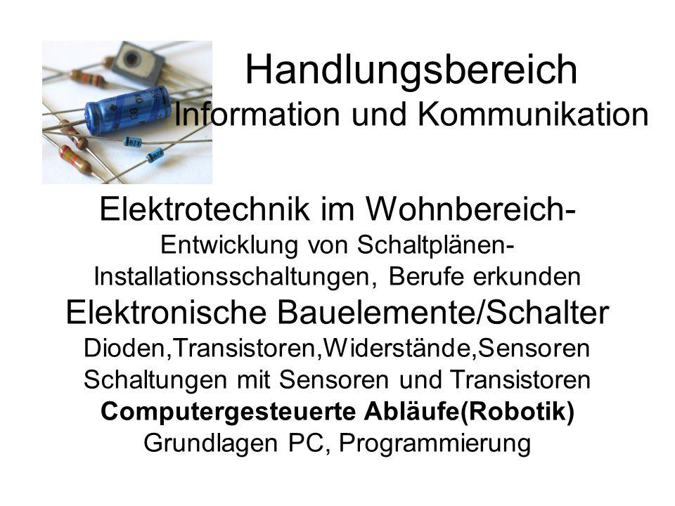 Handlungsbereich Information und Kommunikation Elektrotechnik im Wohnbereich- Entwicklung von Schaltplänen- Installationsschaltungen, Berufe erkunden