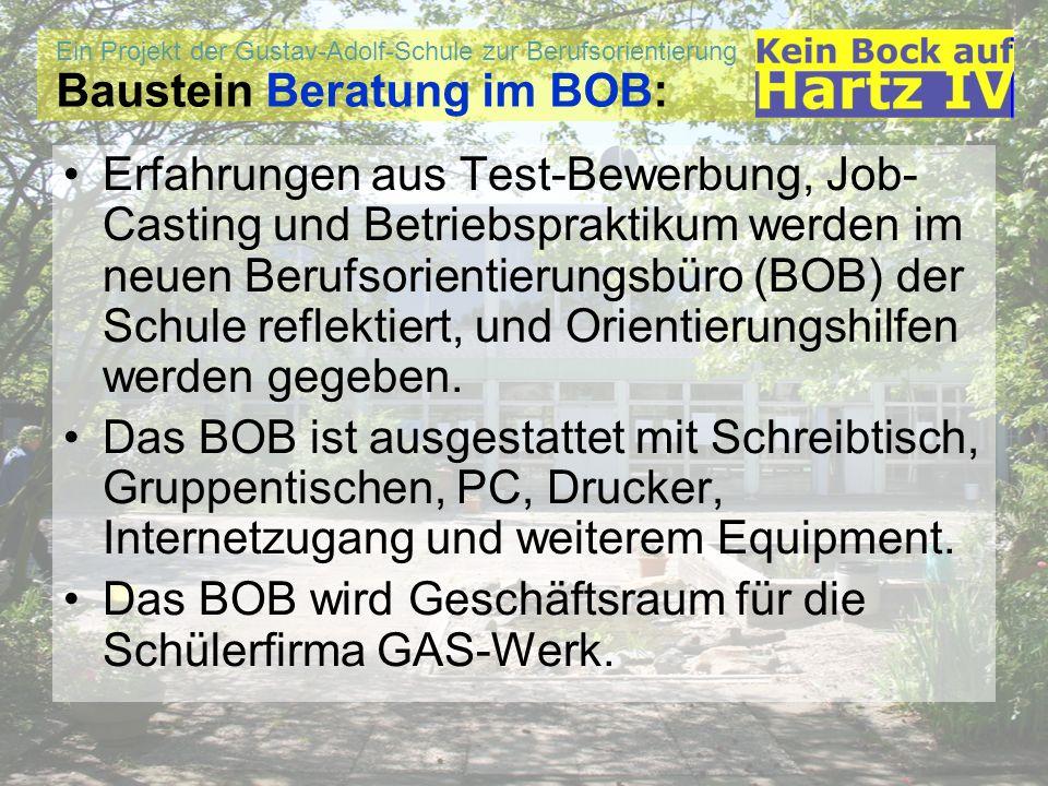 Ein Projekt der Gustav-Adolf-Schule zur Berufsorientierung Baustein Beratung im BOB: Erfahrungen aus Test-Bewerbung, Job- Casting und Betriebspraktiku