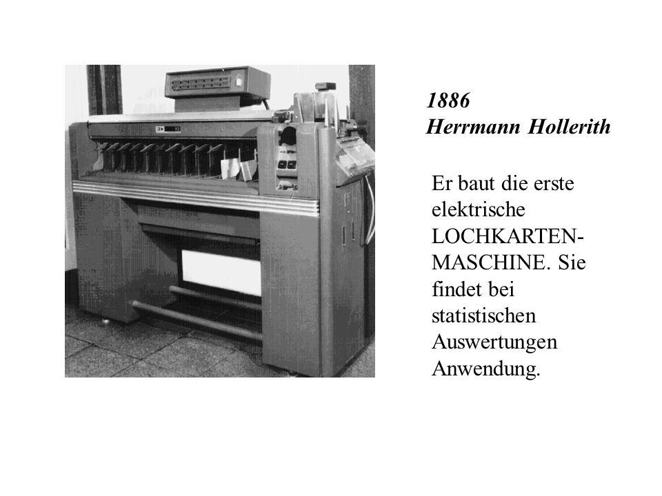 1874 Willgodt T. Odhner Der erste mechanische TISCHRECHNER wird vorgestellt. In Büros wird er noch bis in das 20. Jahrhundert hinein benutzt.