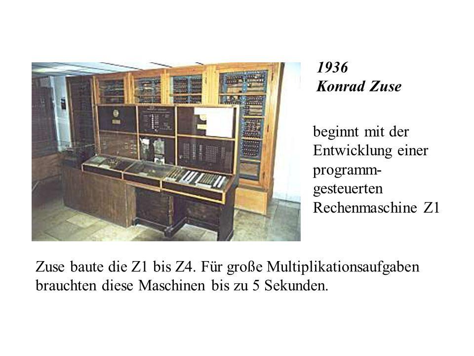 1886 Herrmann Hollerith Er baut die erste elektrische LOCHKARTEN- MASCHINE. Sie findet bei statistischen Auswertungen Anwendung.