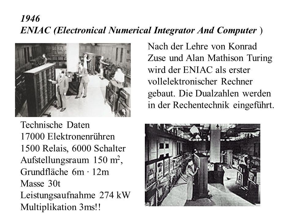 1936 Konrad Zuse beginnt mit der Entwicklung einer programm- gesteuerten Rechenmaschine Z1 Zuse baute die Z1 bis Z4. Für große Multiplikationsaufgaben