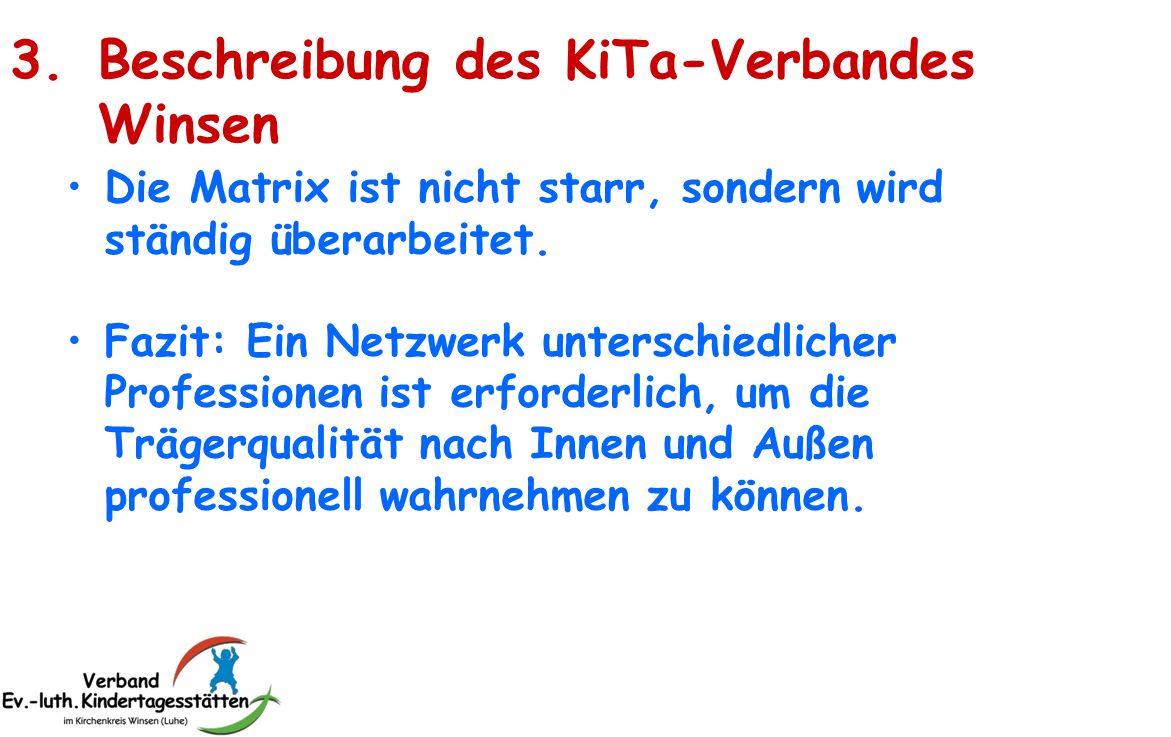 3.Beschreibung des KiTa-Verbandes Winsen Die Matrix ist nicht starr, sondern wird ständig überarbeitet. Fazit: Ein Netzwerk unterschiedlicher Professi