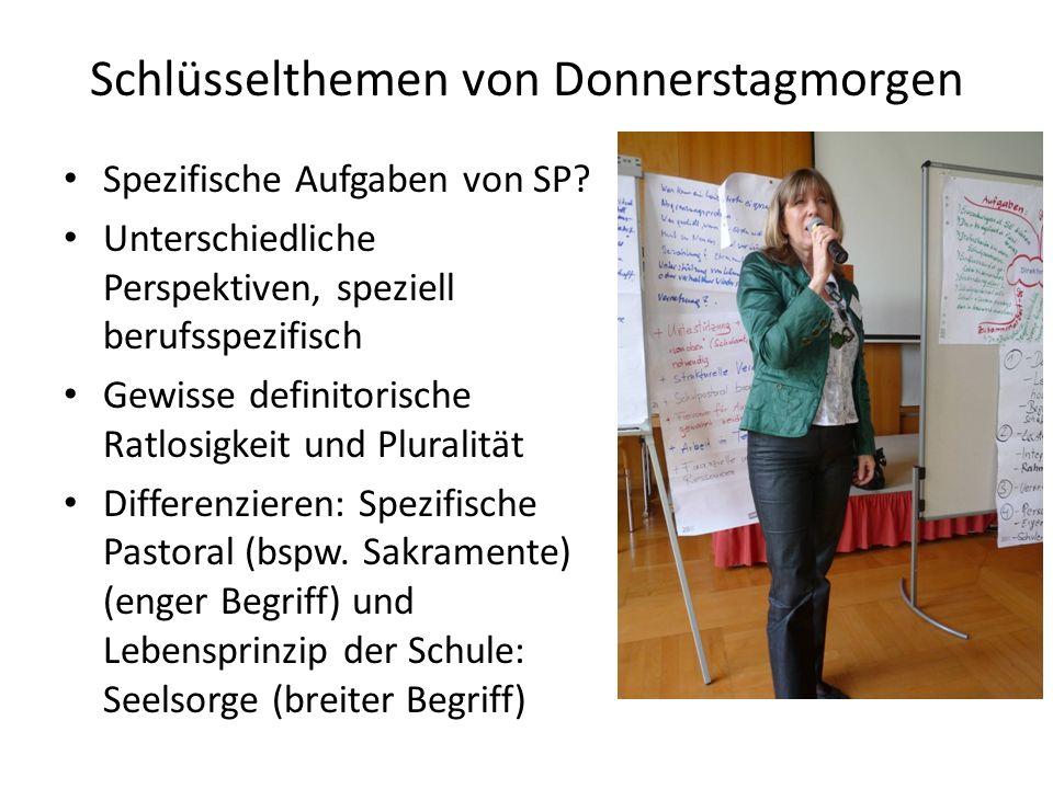 Schlüsselthemen von Donnerstagmorgen Spezifische Aufgaben von SP.