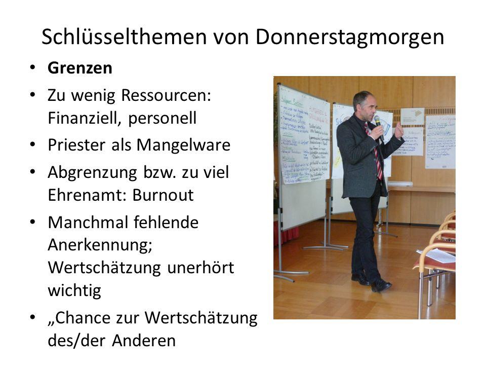 Schlüsselthemen von Donnerstagmorgen Grenzen Zu wenig Ressourcen: Finanziell, personell Priester als Mangelware Abgrenzung bzw.